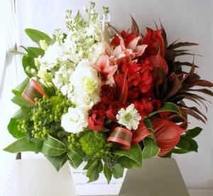 イタリア国旗をイメージして開店祝い花