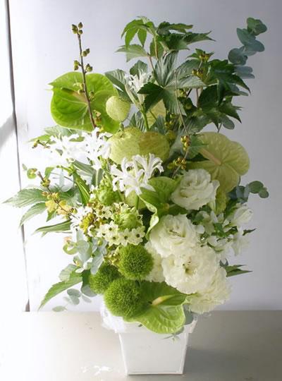 白とグリーンアレンジメント 夏/晩夏 a122912