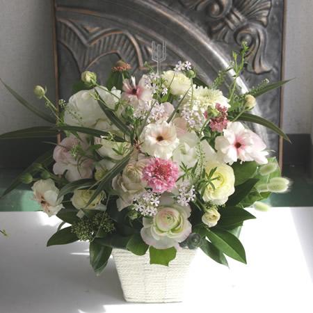冬の花/白グリーンにピンク a200303